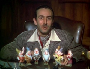 Walt Disney with dwarf figurines